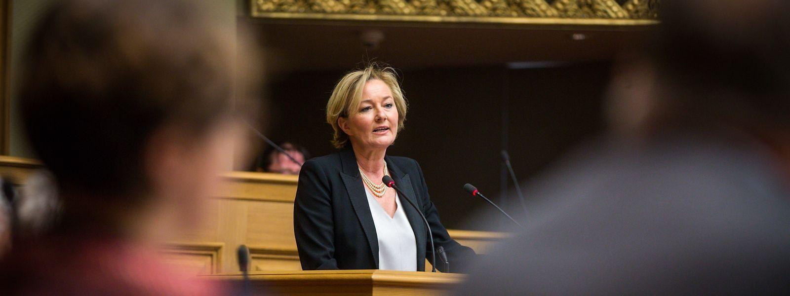 Paulette Lenert lors de sa déclaration de principe sur la politique de coopération, mardi à la Chambre.