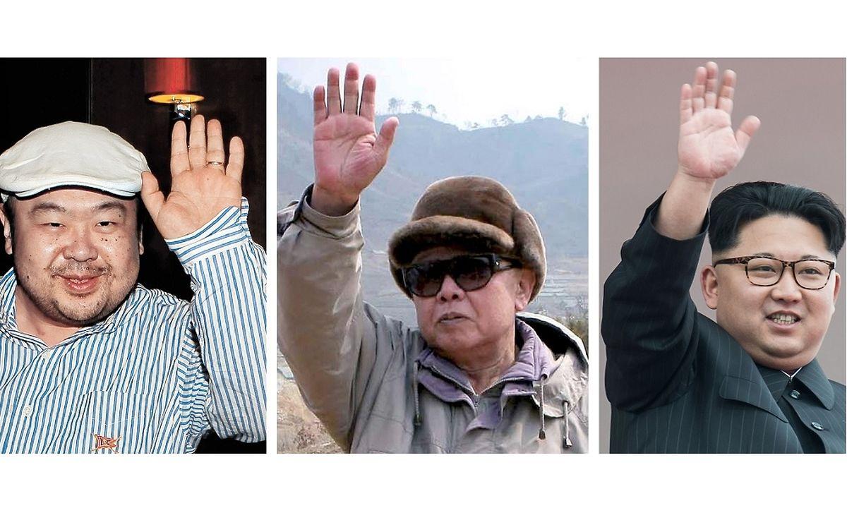 Kim Jog-Nam (l.) war der älteste Sohn von Kim Jong-Il (M.) und der Halbbruder des aktuellen nordkoreanischen Diktators Kim Jong-Un.