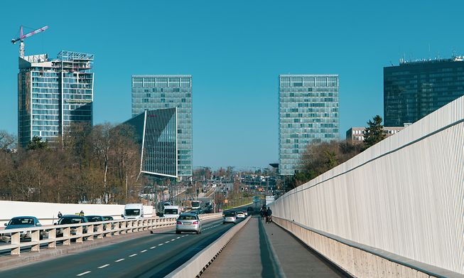 The Kirchberg business district in Luxembourg City