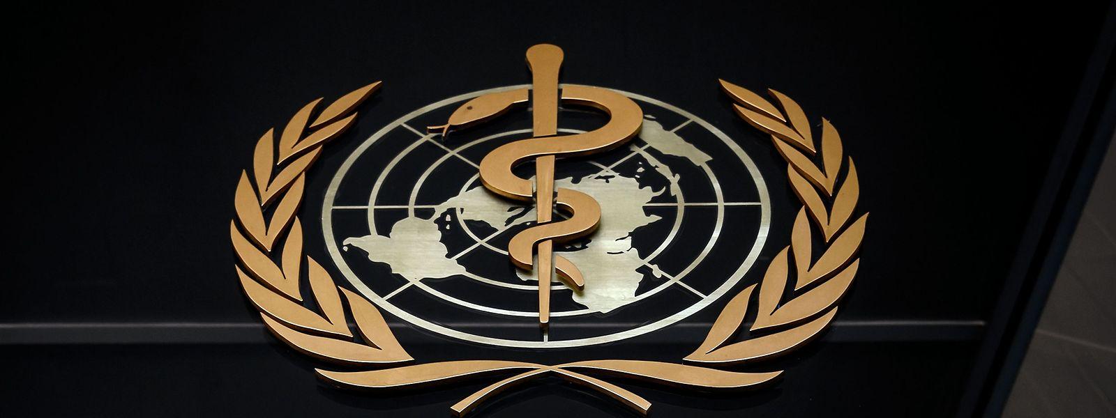 Das Logo der WHO am Sitz in Genf.