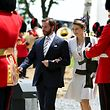 Luxembourg's Hereditary Grand Duke Guillaume and his wife Princess Stephanie (C) attend a ceremony for the opening of the Hougoumont farm as part of the bicentennial celebrations for the Battle of Waterloo, near Waterloo, Belgium June 17, 2015. The commemorations for the 200th anniversary of the Battle of Waterloo will take place in Belgium on June 19 and 20.   REUTERS/Emmanuel Dunand/Pool