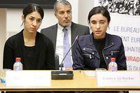 Lauréates du prix Sakharov, Nadia Mourad et Lamiya Aji Bachar, jeudi à la fondation Pescatore