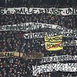 Fans protest against scheduling football games on mondays (Montagsspiele) during the German First division Bundesliga football match Eintracht Frankfurt vs RB Leipzig in Frankfurt, Germany, on February 19, 2018. / AFP PHOTO / Daniel ROLAND / RESTRICTIONS: DURING MATCH TIME: DFL RULES TO LIMIT THE ONLINE USAGE TO 15 PICTURES PER MATCH AND FORBID IMAGE SEQUENCES TO SIMULATE VIDEO. == RESTRICTED TO EDITORIAL USE== FOR FURTHER QUERIES PLEASE CONTACT DFL DIRECTLY AT + 49 69 650050