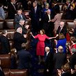 TOPSHOT - Speaker of the House Nancy Pelosi (D-CA) arrives after being elected in the House of Representatives during the opening session of the 116th Congress on Capitol Hill January 3, 2019 in Washington, DC. (Photo by Brendan Smialowski / AFP)