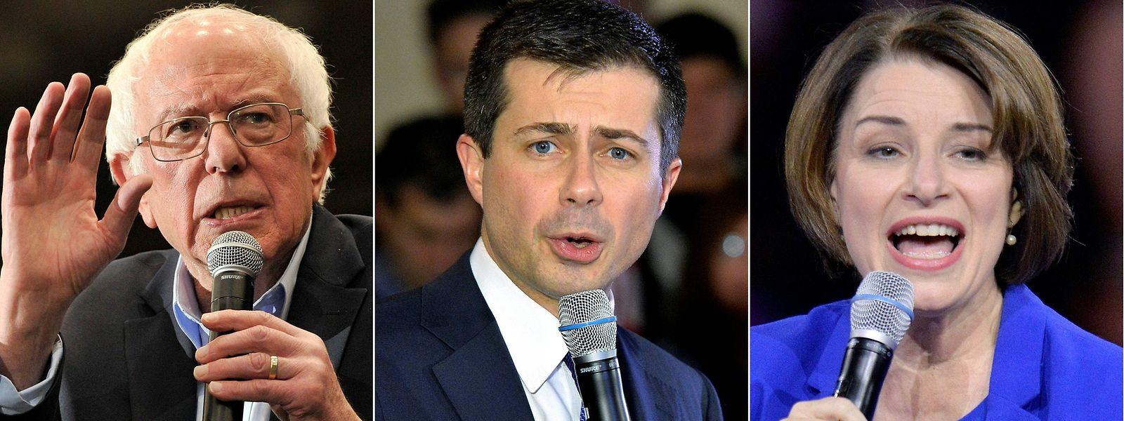 Die Favoriten in Nevada: Bernie Sanders, Pete Buttigieg und Amy Klobuchar (von l. nach r.)
