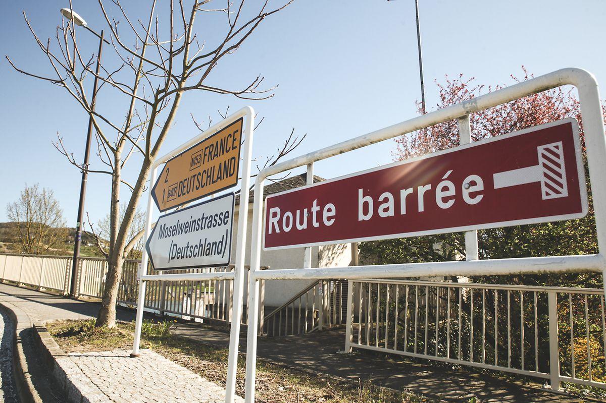 A entrada da ponte de Schengen.
