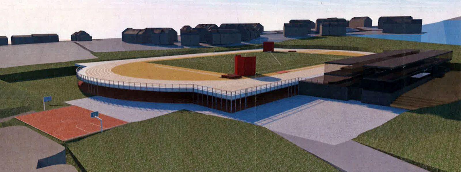 Unter dem regionalen Leichtathletikfeld sollen Parkplätze und ein multifunktionaler Bereich entstehen.