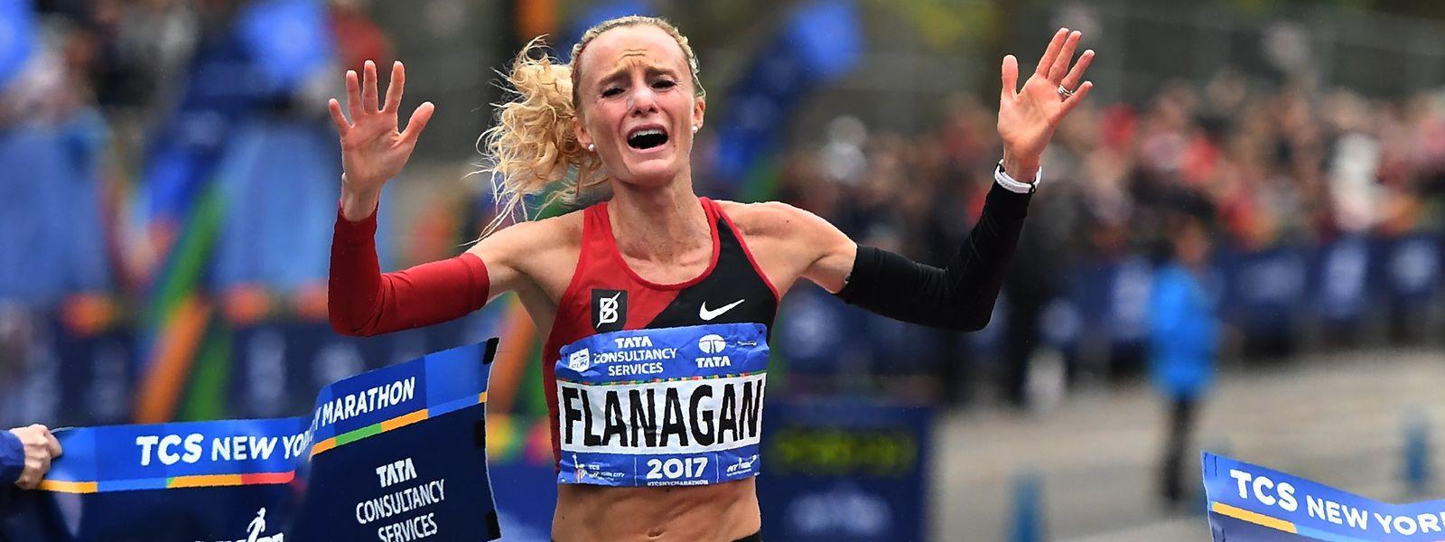 Die Emotionen waren Shalane Flanagan beim Überqueren der Ziellinie anzusehen.