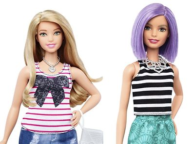 The new curvy Barbie doll body shape (L) is seen next to the traditional Barbie in a combination of photos released by Mattel on January 28, 2016. Barbie, the world's most famous doll, has a new body. In fact, she has three new bodies - petite, tall and curvy. Some 57 years after the impossibly busty and narrow-waisted blue-eyed Barbie doll was first introduced, California-based toy maker Mattel on Thursday released the new models, which it says better reflect a changing world. REUTERS/Mattel/Handout via Reuters  ATTENTION EDITORS - THIS PICTURE WAS PROVIDED BY A THIRD PARTY. REUTERS IS UNABLE TO INDEPENDENTLY VERIFY THE AUTHENTICITY, CONTENT, LOCATION OR DATE OF THIS IMAGE. FOR EDITORIAL USE ONLY. NOT FOR SALE FOR MARKETING OR ADVERTISING CAMPAIGNS. THIS PICTURE IS DISTRIBUTED EXACTLY AS RECEIVED BY REUTERS, AS A SERVICE TO CLIENTS. NO SALES. NO RESALES. NO ARCHIVE.