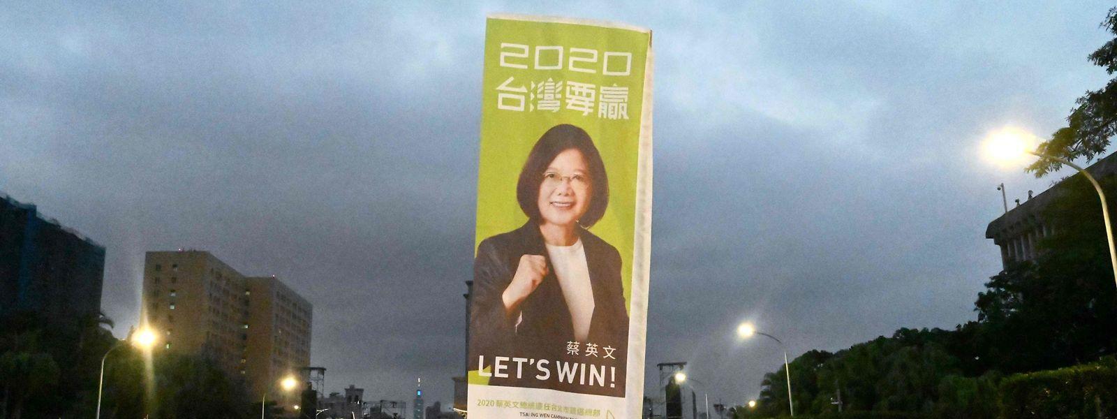 Unterstützer der taiwanischen Präsidentin Tsai Ing-wen von der DPP während eines Wahlkampfauftritts.