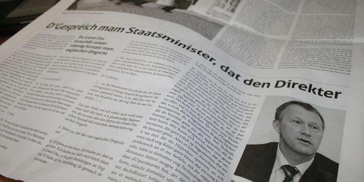 """Das """"Lëtzebuerger Land"""" veröffentlichte am Freitag das Gespräch, das beim Geheimdienst offenbar unauffindbar war."""