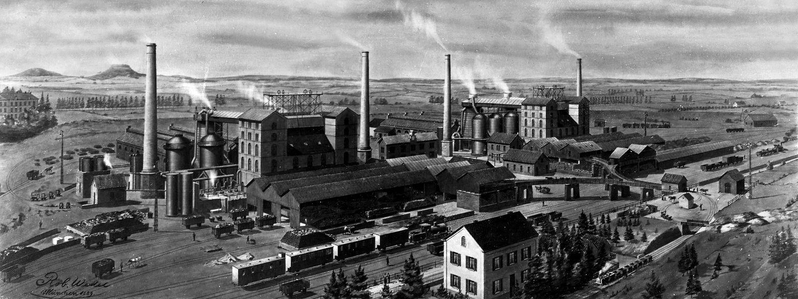 Die Metzeschmelz (später Esch-Schifflingen) im Jahr 1889. Der Bau der Schmelzen trug erheblich zur Stadtentwicklung bei.