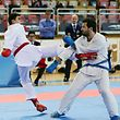 47 FLAM nationale Meisterschaften im Karate Kumite in der Coque am 27.11.2016 Philippe BIBERICH (rot) und Jetnor BALA (blau)