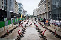 Tram und Corona-Krise  - Tram baustelle - boulevard royal -  Foto: Pierre Matgé/Luxemburger Wort