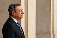 Italy's Prime Minister, Mario Draghi greets the German chancellor upon her arrival for their meeting at Palazzo Chigi in Rome on October 7, 2021. (Photo by Alberto PIZZOLI / AFP)