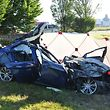 Tödlicher Unfall Kreisverkehr Raemaerich, zwei Tote, einer lebensgefährlich verletzt. Esch/Alzette, Foto: Polizei, 26.06.2016