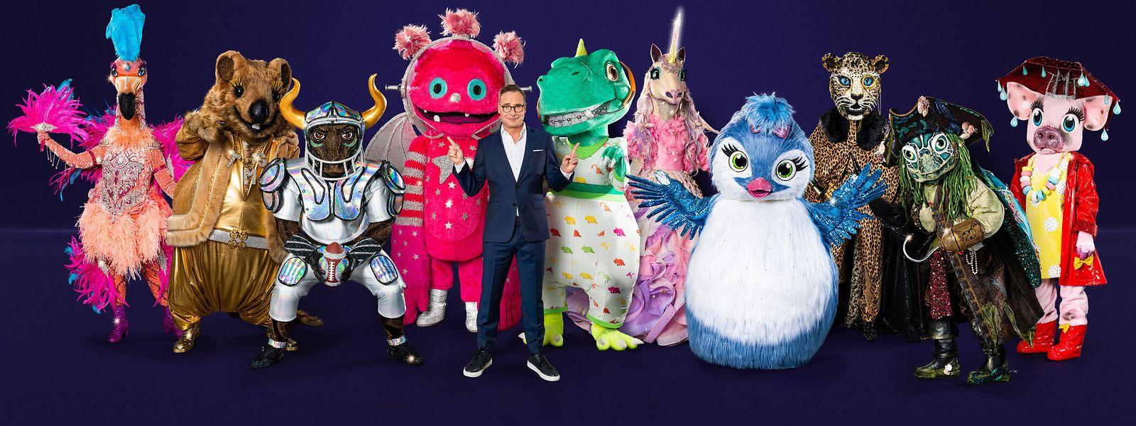 Die Teilnehmer: der Flamingo, das Quokka, der Stier, der Monstronaut, Moderator Matthias Opdenhövel, der Dinosaurier, das Einhorn, das Küken, der Leopard, die Schildkröte und das Schwein (v.l.n.r.).
