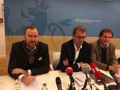FSHCL-Sprecher Marc Glesener, Staatssekretär Camille Gira und FSHCL-Präsident Georges Jacobs.