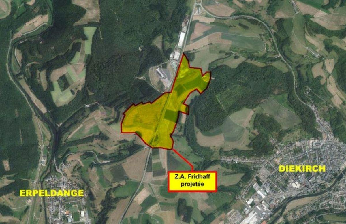 """Die neue Landewyck-Produktionsstätte wird im Gewerbegebiet """"Zano"""" oberhalb von Erpeldingen und Diekirch errichtet."""