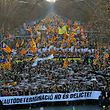 "People hold a giant banner reading ""Autodetermination is not a crime"" during a protest against the trial of former Catalan separatist leaders in Barcelona on February 16, 2019. - Twelve Catalan separatist politicians and activists face years behind bars if they are convicted of rebellion or other charges for pushing an independence referendum in October 2017, in defiance of a court ban, and a brief declaration of independence. (Photo by LLUIS GENE / AFP)"