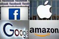 (COMBO) This combination of pictures created on July 10, 2019 shows a Facebook logo on July 4, 2019 in Nantes, an Apple logo in San Francisco on September 7, 2016, a Google logo in China's Chongqing on August 23, 2018, and an Amazon logo in New York on September 28, 2011. - US President Donald Trump has ordered an investigation into France's planned tax on internet services that will hit American tech giants especially hard, officials said on July 10, 2019. The investigation into unfair trade practices could pave the way for Washington to impose punitive tariffs, something Trump has done repeatedly since taking office. (Photos by AFP) / - China OUT