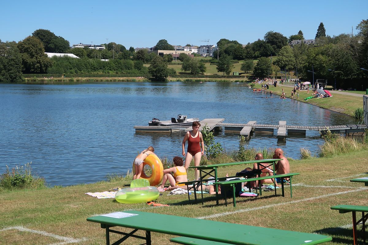 One of the lakes at Weiswampach is available for swimming and you can rent pedalos