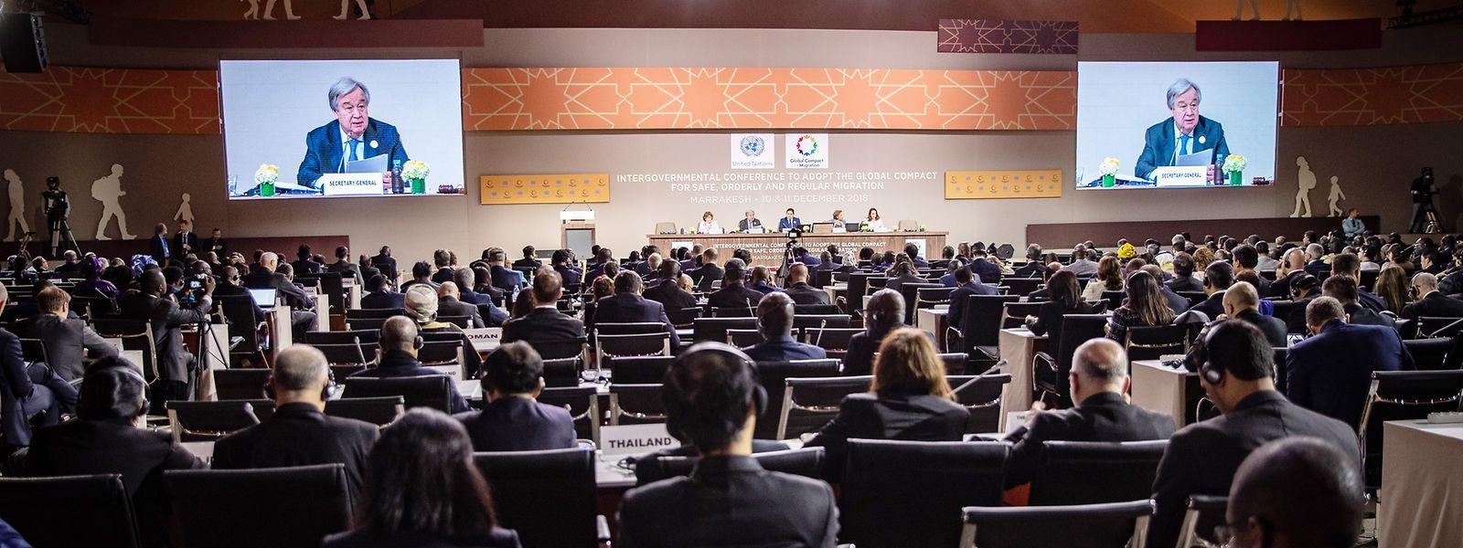 Marrakesch: António Guterres, Generalsekretär der Vereinten Nationen, spricht bei der Eröffnung der UN-Konferenz zum Migrationspakt.