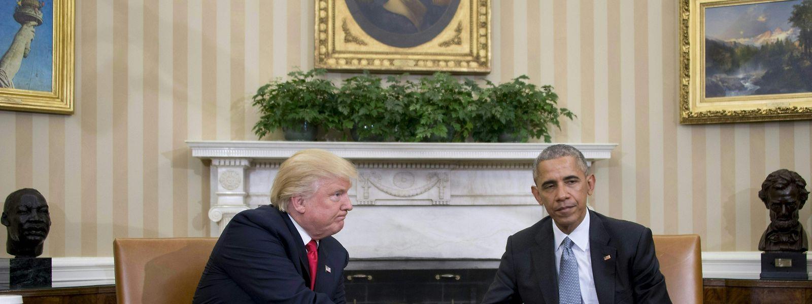 Die Lage zwischen dem gewählten Päsidenten Trump und dem regierenden Präsienten Obama (r.) spitzt sich langam zu.