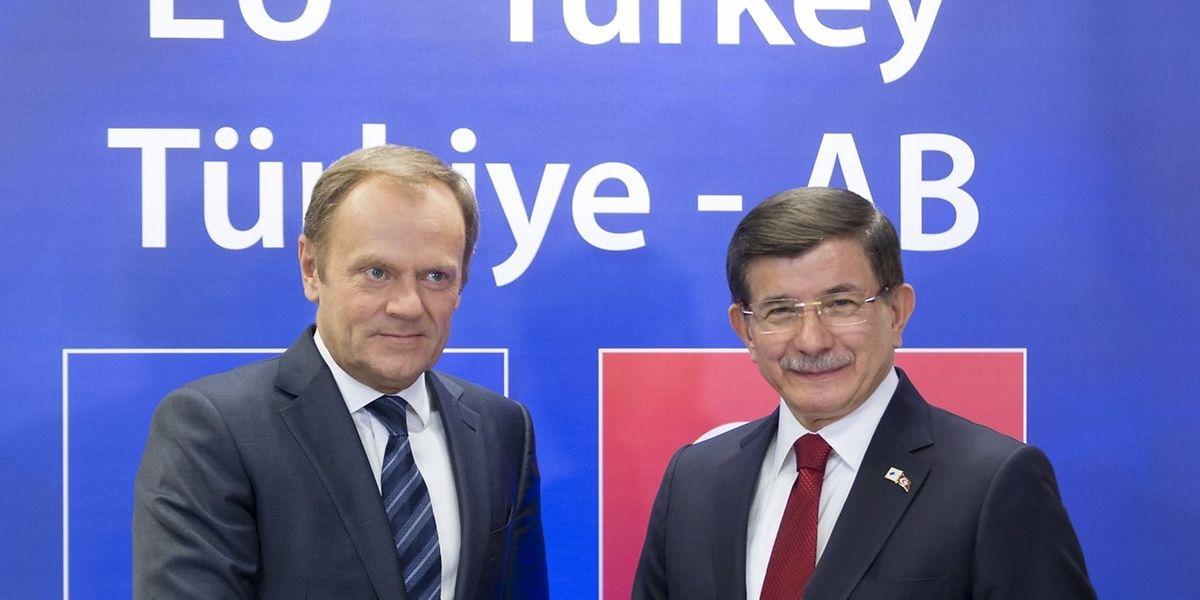 EU-Ratspräsident Donald Tusk und der türkische Premierminister Ahmet Davutoglu haben eine Lösung gefunden.