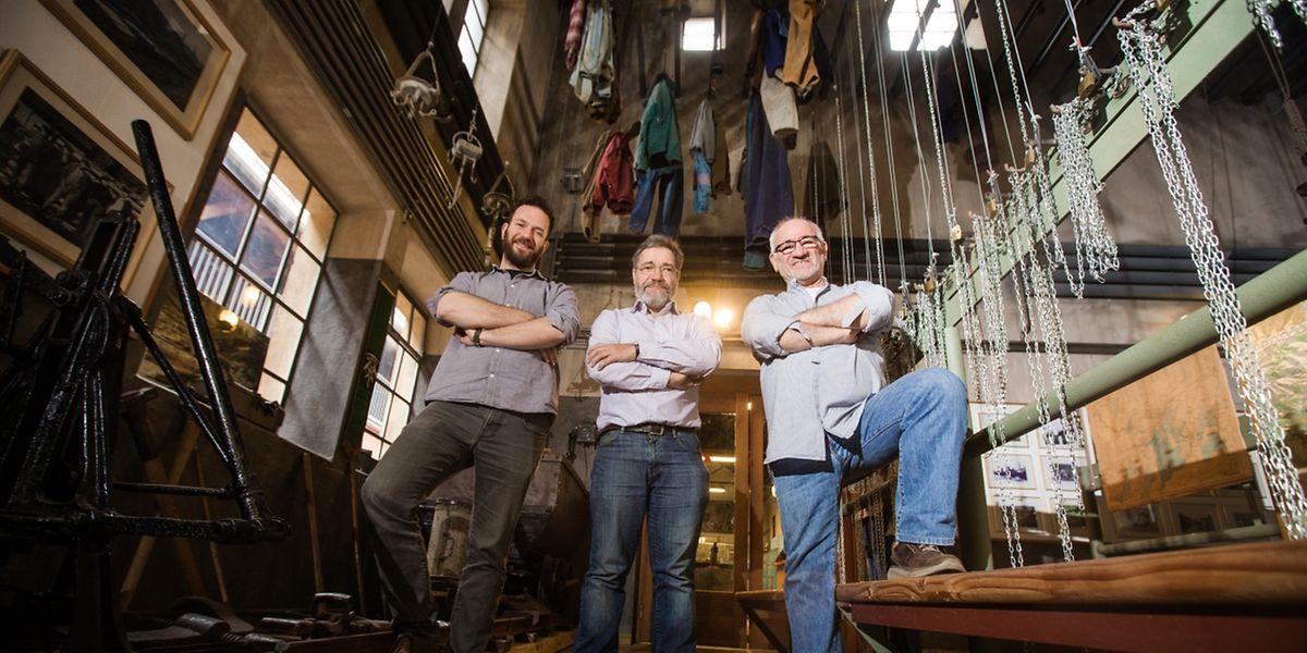 Misch Feinen, Heng Clemens und Gino Pasqualoni (v.l.n.r.) wollen den Abriss von historischen Industriegebäuden auf den escher Brachen verhindern.