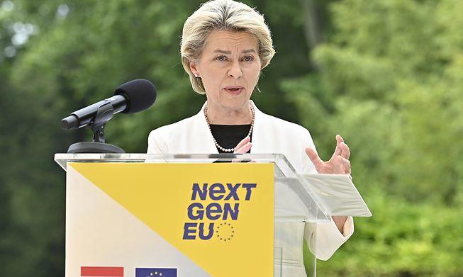 Looking green: European Commission President Ursula von der Leyen during her European tour, here in Vienna on Monday