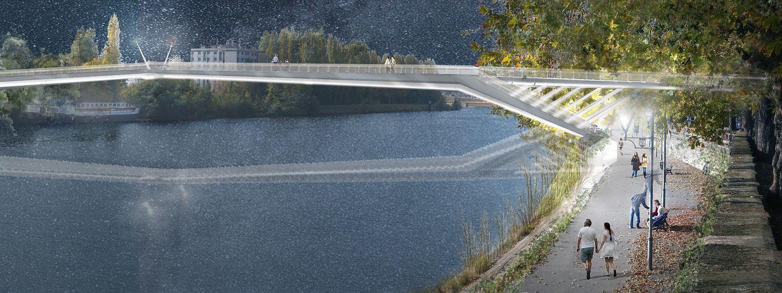 La future passerelle traversera la Moselle sur une centaine de mètres.