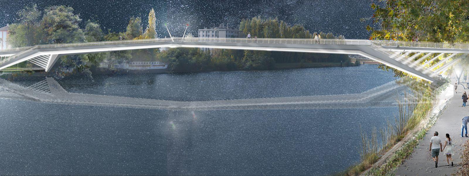 La future passerelle de 140 mètres de long reliera le centre-ville de Thionville et son nouveau quartier de la gare en devenir.