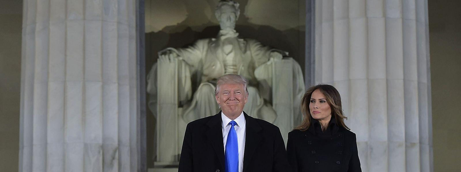 "Donald Trump mit Frau Melania am Vorabend der ""Inauguration"" am Lincoln Memorial."