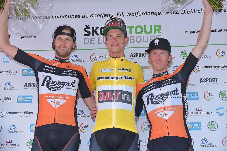 Schlußpodium der Luxembourg 2015: 2. Marc De Maar (NL/Team Roompot), 1. Linus Gerdemann (D/Cult Energy Pro Cycling) und 3. Huub Duijn (NL/Team Roompot)