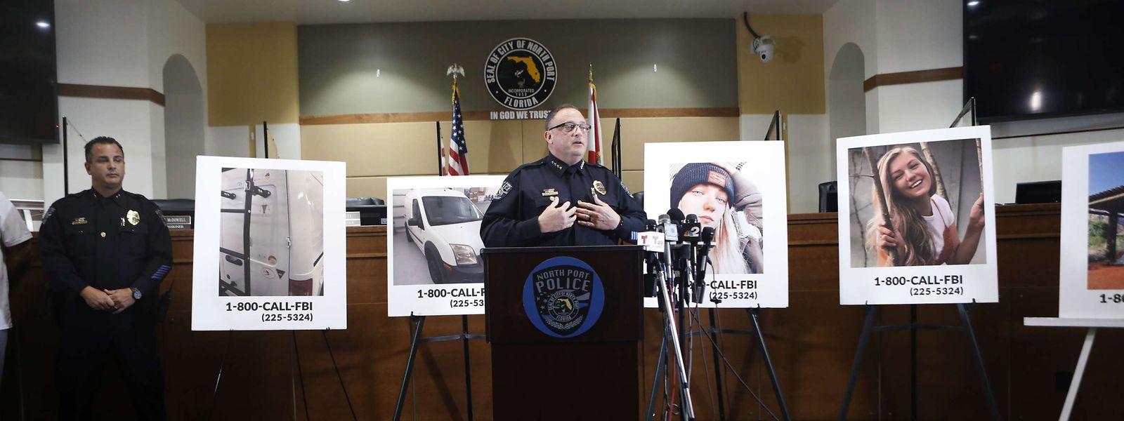 Der Polizeichef von North Port, Todd Garrison, bei einem Pressetermin zum Vemisstenfall Gabby Petito am 16. September.