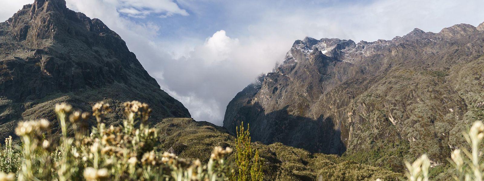 Blick vom Hunwick's Campauf knapp 4000 Metern in Richtung Bergmassiv – auf den Spitzen liegt feiner Schnee wie Puderzucker.