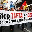 Das Ceta-Abkommen rief auch am Montag seine Gegner auf die Straße.