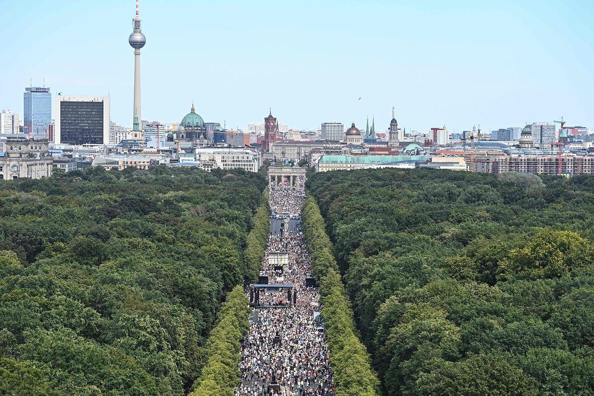 Der Demonstrationszug vor dem Brandenburger Tor.