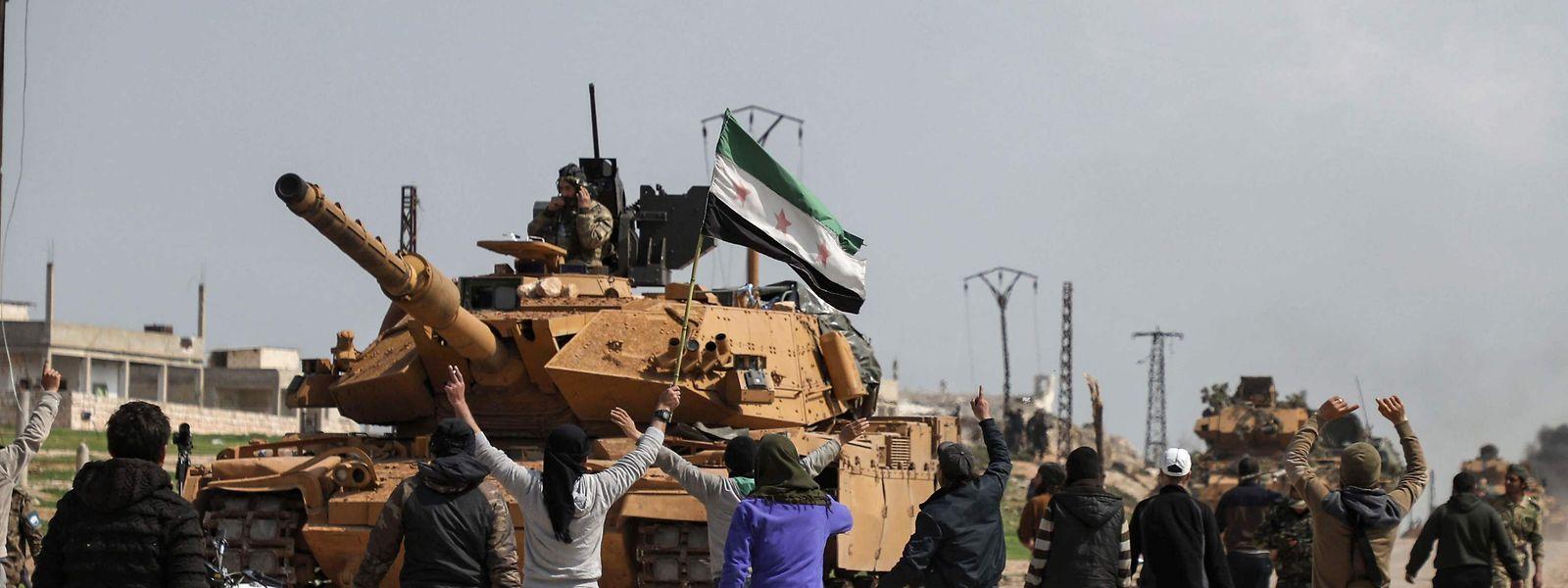 Türkischer Panzer in Nord-Syrien.