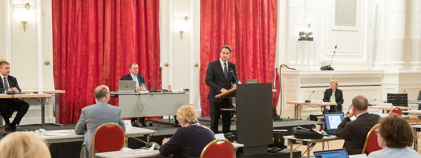 Premierminister Xavier Bettel bei seiner Ansprache am Mittwochnachmittag.