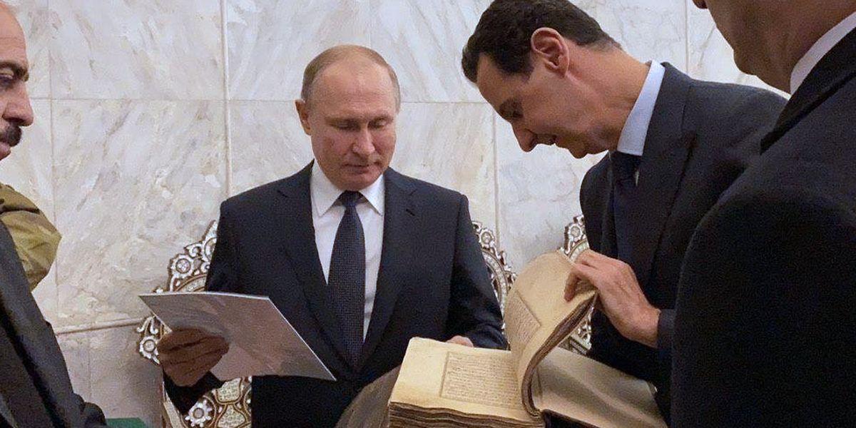 Wladimir Putin und Baschar al-Assad bei einem Besuch der historischen Ummayad-Moschee in Damaskus.