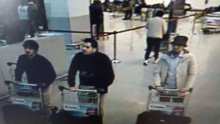 Screengrab of the airport CCTV camera showing three suspects of Tuesday morning's attacks at Brussels Airport, in Zaventem.