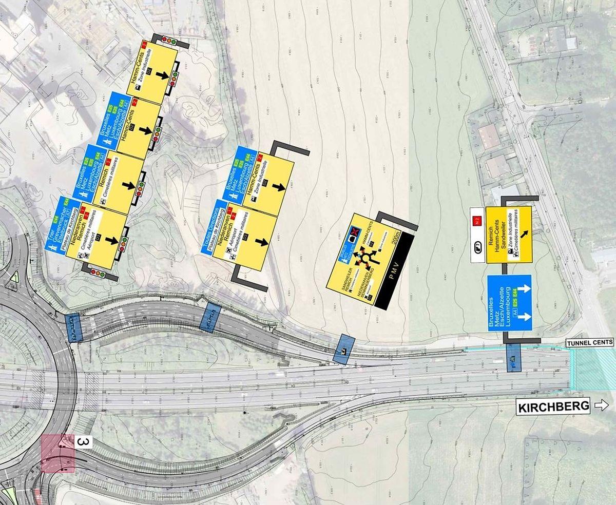So könnte die neue Beschilderung aussehen, wenn man auf der Trierer Autobahn A1 aus Richtung Kirchberg kommend die Ausfahrt zum Kreisverkehr Irrgarten nimmt. Verkehrsteilnehmer müssen demnach direkt jene Fahrspur wählen, die sie in die gewünschte Richtung führt. Im Kreisel selbst wird die Fahrspur nicht mehr gewechselt.