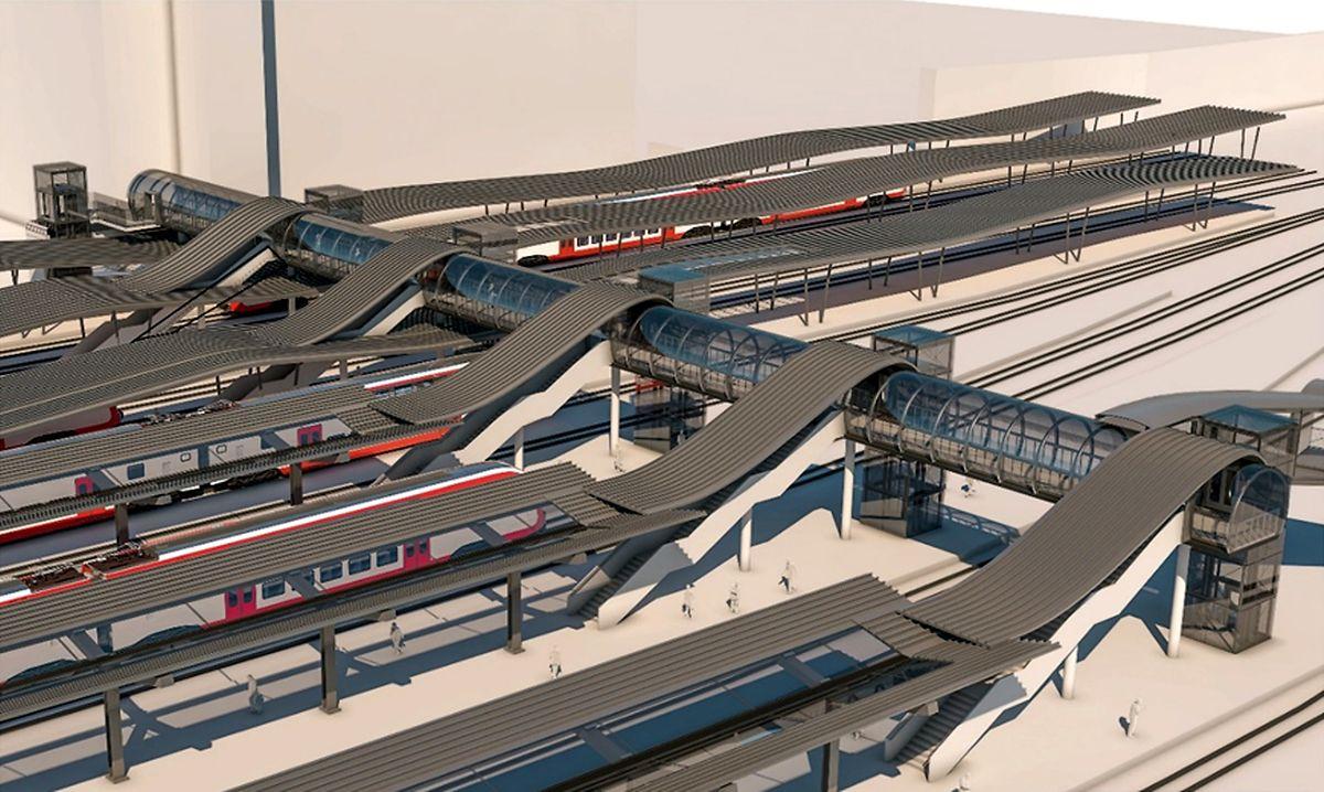 La future passerelle des CFL, équipée d'ascenseurs pour chaque quai, sera installée en un week-end au printemps 2021 et reliée à celle de la ville de Luxembourg.