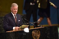 "(FILES) In this file photo taken on April 24, 2018 King Philippe of Belgium speaks during the opening session of the 72nd High-level Meeting on Peacebuilding and Sustaining Peace at United Nations Headquarters in New York. - Belgium's King Philippe expressed his ""deepest regrets"" for the harm done during Belgian colonial rule in DR Congo, in a first for his country. ""I want to express my deepest regrets for these wounds of the past whose pain is reawakened today by the discrimination still present in our societies,"" Philippe said on June 30, 2020, in a letter to DR Congo President Felix Tshisekedi to mark the country's 60th independence anniversary. (Photo by HECTOR RETAMAL / AFP)"