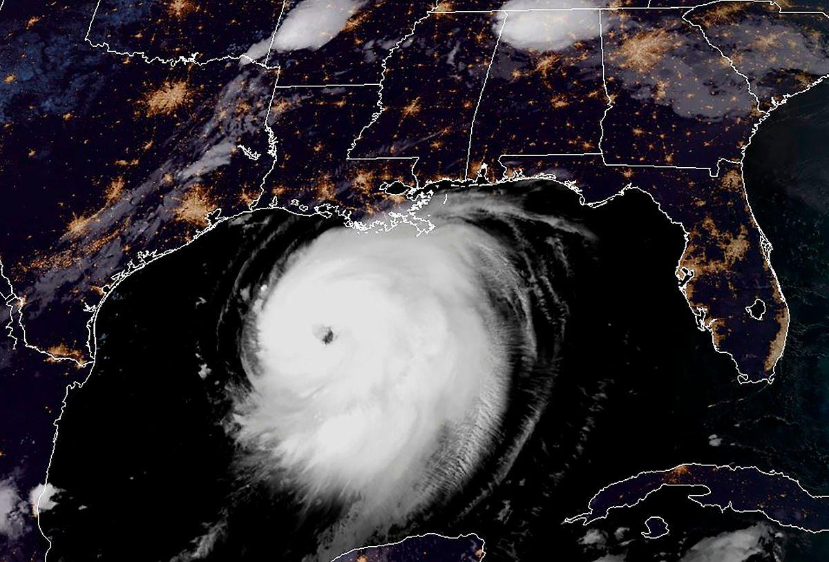 Hurrikan Laura auf einer Satellitenaufnahme des nordwestlichen Golfs von Mexiko.
