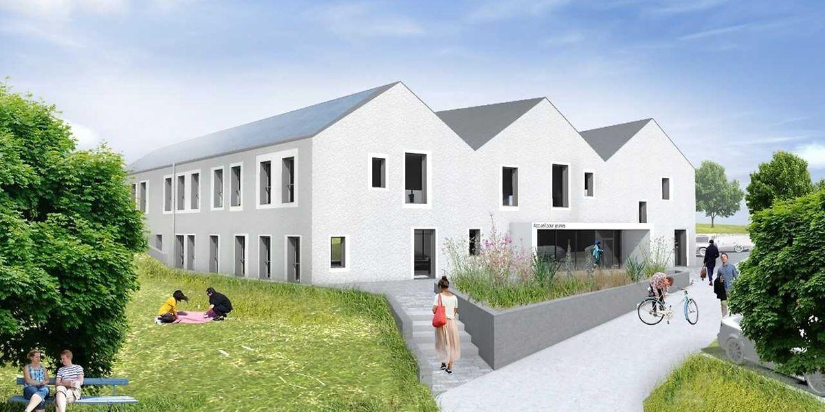 Die neue Empfangsstruktur für Jugendliche entsteht an der Diekircher Straße am Ausgang von Fouhren.