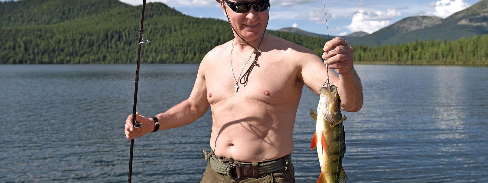 Vladimir Putin beim Fischen im Süden Sibiriens.