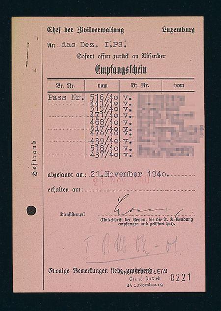 Offenbar war es gelungen, jede Menge Luxemburger Staatenlosenpässe für ausländische Juden zu organisieren.